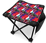 ghkjhk8790 Camping Stool Folding Red White and Blue Guitar Portable Chair Camping Hunting Fishing Travel with Carry Bag
