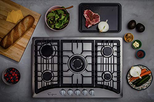 """Empava 30"""" Gas Stove Cooktop with 5 Italy Sabaf Sealed Burners NG/LPG Convertible in Stainless Steel, 30 Inch, Silver"""