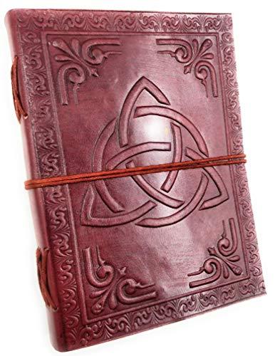 Chic & Zen - diario, agenda, blocchetto per appunti, Vera Pelle, Vintage, Triquetra, 13 cm x 17 cm, carta premium