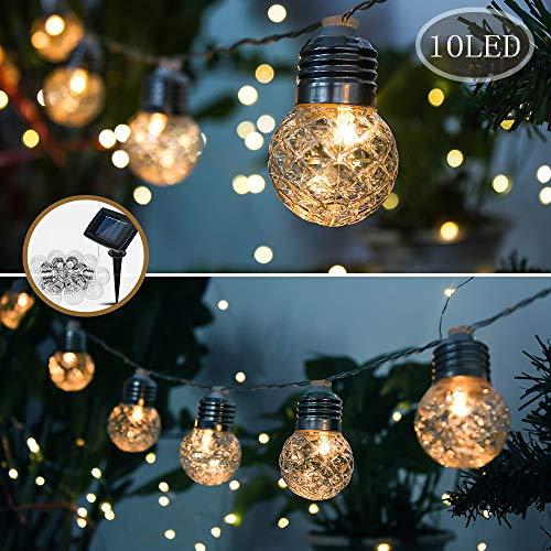 Treer Garten Solar LED Lichterkette Glühbirnen Ananas Kugel 10 / 20LED Außen Deko Wasserfest 2 Modi Außerlichterkette für Terrasse Hof Innen Haus Weihnachtsbaum Feiern (4m / 10LED)