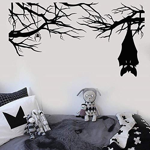 105X57Cm Vinyl Wandtattoo Cartoon Gothic Spinne Fledermaus Zweig Halloween Aufkleber Zuhause Wohnzimmer Fenster Aufkleber