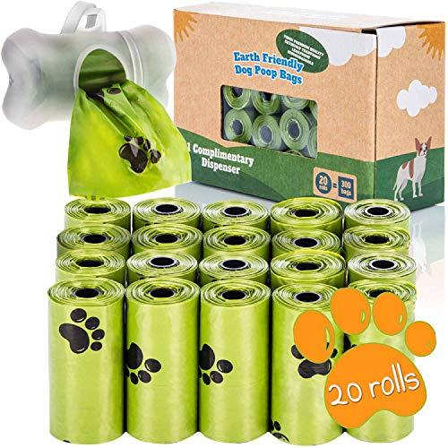 Hundekotbeutel mit Spender Kompostierbare Kotbeutel für Hunde mit Hundekotbeutelspender und Leinen Halter (300 Beutel: 20 Rollen + 1 Spender)
