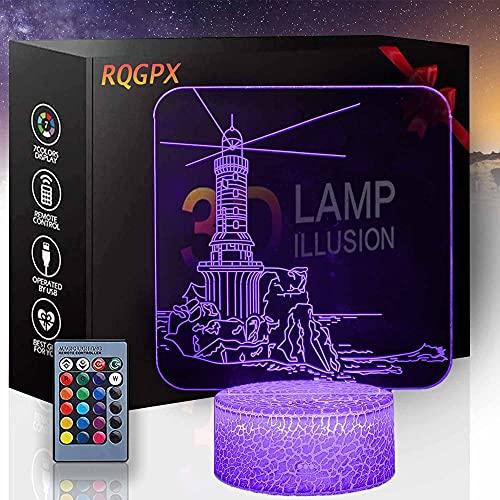 Faro LED 3D luz nocturna, lámpara de ilusión óptica y interruptor táctil USB Powered dormitorio lámpara de escritorio para niños regalos hogar