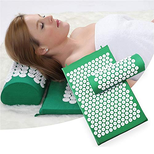I FOR Massager Pads, Relieve Back & Body Pain Spike Mat, Acupuncture Massage Mat with Pillow, Massage Pads Rug, Acupuncture Mat+Pillow Back Neck Stress/Relief Yoga Cushion, Green