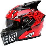 Motorcycle Full Face Helmet, Built-in Bluetooth Headset, Dual Lens Anti-Fogging Face Helmet, Moped Modular Helmet, DOT...
