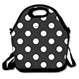 Black White Bohemian Polka Dot Lunch Bag Insulated Lunch Box
