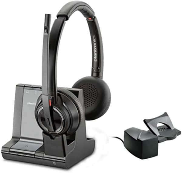 Plantronics SAVI 8200 Series W8220 Wireless DECT Headset System With HL10 Straight Plug Lifter Built For UC Applications Soft Phones From Avaya Cisco Skype