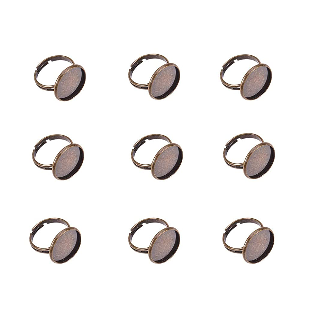 Pandahall 10pcs Antique Bronze Brass Adjustable Finger Ring Findings, Pad Ring Bases Perfect for Cabochons