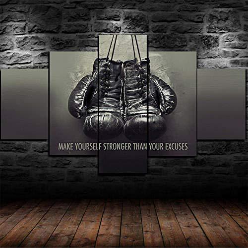 Leinwand Kunstdrucke 5 Teilig Bilder Wandbild 150X100 Leinwanddrucke Modular Modern Wandbilder Wand Poster Boxhandschuhe Gym Motivation Hd 5 Panel Painting Hauptdeko Malerei 150X100
