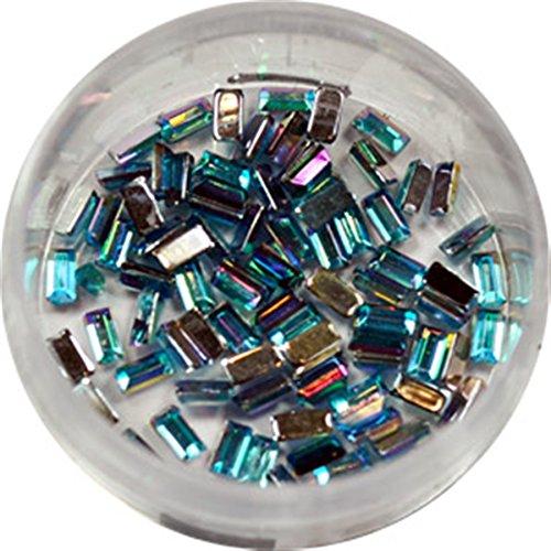 RM Beautynails Nailfun Lot de 50 strass rectangulaires Bleu clair
