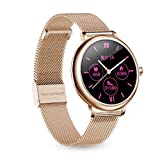 LB LIEBIG Womens Smart Watch, Fitness Activity Tracker Watch with Heart Rate,Blood Pressure Monitor, Full Touch Screen, Extra Leather Band,Compatible with Apple and Android Phones (Gold)