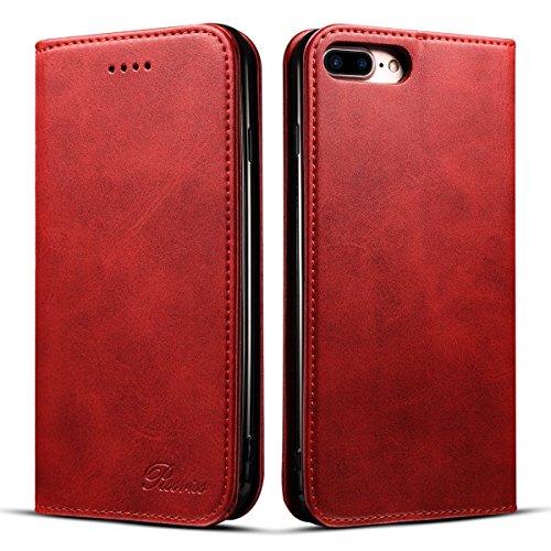iPhone8Plus ケース 手帳型 iPhone 7 Plus ケース 手帳 Rssviss アイフォン8プラスケース マグネット カード収納 横置き機能 PUレザー iPhone 7 Plus iPhone 8 Plus 5.5 inch 適応 W1 レッド