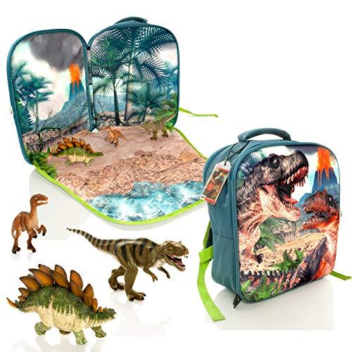 Mojo Dinosaur Play Scene Backpack & 3 Dinosaur Figures Playset