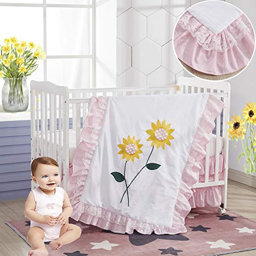 Brandream Sunflower Crib Bedding Set for Girls Pink Floral Nursery Bedding 3 Piece Cotton Ruffle Princess Blanket with Lace Embroidery Sunflower Pink& Yellow, 100% Cotton