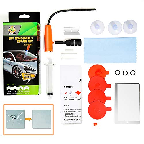 DIY Windshield Repair Kit, 2021 Newest with UV Curing Light, Fast Repair, Car Glass Repair Tool Set for Half-Moon Cracks and The Combination Cracks