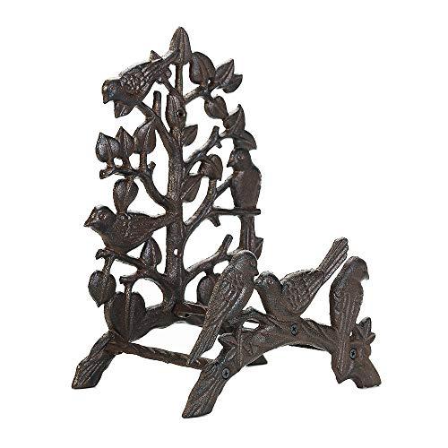 Sungmor Soporte para manguera de hierro fundido resistente, para jardín y patio, decoración de pájaros para montar en la pared, para tuberías de agua, estante, colgador, decoraciones de pared
