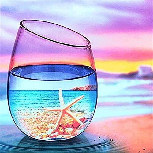 5D DIY diamante pintura puesta de sol botella de vidrio de vino kits para punto de cruz diamante bordado paisaje playa regalo hecho a mano A13 45x60cm