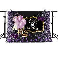 MTMETY 10x7フィート Happy 50th Birthday Purple Dream Background シャンパンバルーン クリスタルシューズ 背景 誕生日テーマパーティー 写真背景 フォトブートスタジオ LXME997