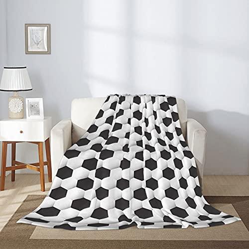 Manta deportiva con patrón geométrico de pelota de fútbol para cama de 203 x 152 cm