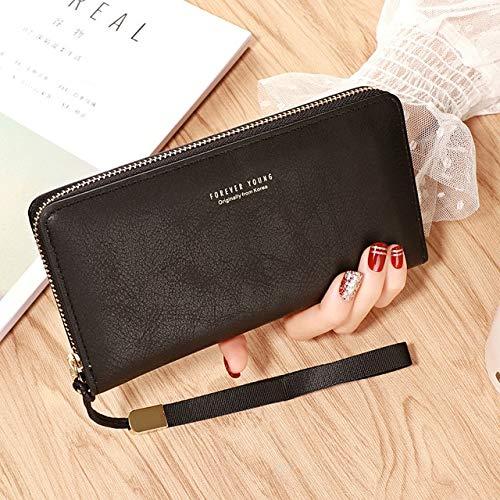 Xiaobing Portafoglio in pelle da donna Tasca con cerniera Portafoglio da donna Porta carte di credito da donna Clutch -Black-D667