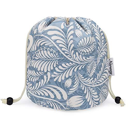 Barrel Makeup Bag Travel Drawstring Cosmetic Bag Large Toiletry Organizer Waterproof for Women and Girls (Large, Blue Leaf)