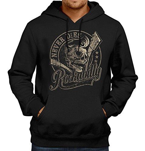 Gasoline Bandit Original Rockabilly Biker Kapuzen-Pullover: Rockabilly Never Dies -XXL