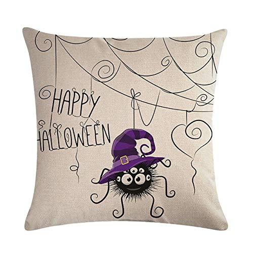 Halloween Cartoon Owl Printed Pillow Case Cotton Linen Fashionable Pillow Cover Bedroom Throw Pillows for Home Office Car,Multi-color mixed Jasnyfall