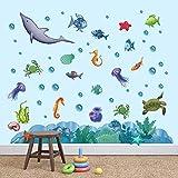 decalmile Pegatinas de Pared Bajo el Mar Vinilos Decorativos Pescado Oceano Adhesivos Pared Baño Habitación Infantiles Guardería Niños Bebés Dormitorio
