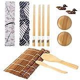 metagio Juego de sushi 14 piezas bambú, esterilla para principiantes, incluye enrollable palillos sushi, viaje, palillos, funda, soporte y plato