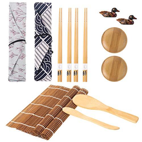 metagio Sushi Set, 14 Teile Bambus Sushi Matte Sushi Maker Set für Anfänger, inklusiv Bambus Sushi Rollmatten,Essstäbchen,Reisstreuer, Paddel, Essstäbchen Tasche,Essstäbchenhalter und Sushi-Teller