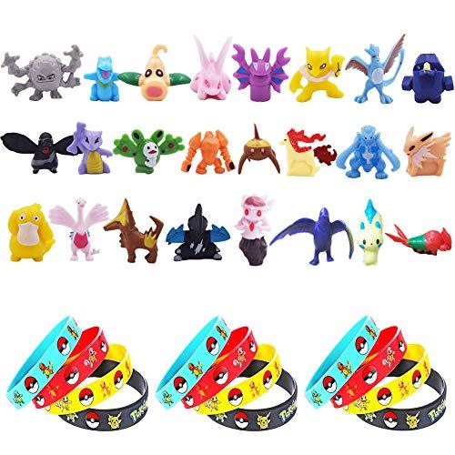 U/R 24 Piezas Pokemon Monster Mini Figure 2-3cm in Random+12 Piezas Pulsera de Silicona,Fiesta para niños y Adultos,Estilo Aleatorio, Puede Que no Sea Estilo de Imagen.