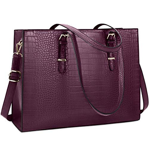 Laptop Bag for Women 15.6 inch Laptop Tote Bag Leather Classy Computer Briefcase for Work Waterproof Handbag Professional Shoulder Bag Women Business Office Bag Large Capacity Wine Red