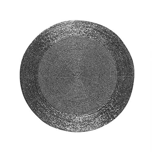 Farmhouse Beaded Placemat, Beaded Placemat Set of 4 - Round Hand Beaded Charger Placemat - Hand Made by Skilled artisans - A Beautiful complement to Your Dinner Table décor - Gunmetal - 13 Inch Round
