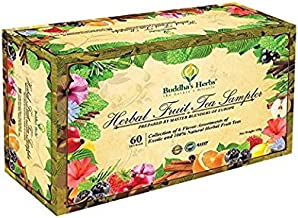 Buddha's Herbs Premium Herbal Fruit Tea Sampler - Antioxidant Support - 60 Count Assorted Package, Tea Gifts, New Year Gifts