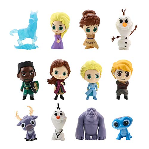 Newmemo Frozen Cake Topper 12pcs- Frozen Action Figure, Frozen Birthday Cake Topper Cupcake Topper, Mini Figurines Toy, Frozen Cake Decoration for Kids Birthday Baby Shower Frozen Theme Party Supplies