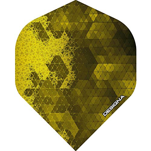 Unbekannt Designa Rock Dart-Flights, extra stark, 100 Mikron, Standardform, 5 Sets (15 Stück), gelb