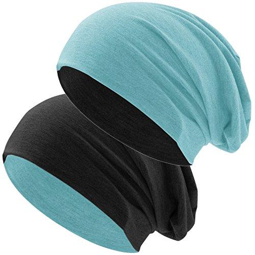 Hatstar Bicolor Jersey Slouch Long Beanie Mütze, leicht und weich, Reversible Beanie für Damen und Herren (Zwei-farbig | Bicolor Mint-schwarz)