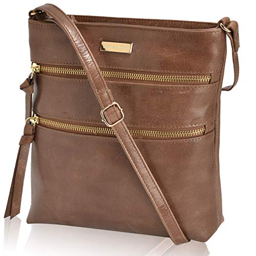 Crossbody Purses for Women - Tan Genuine Leather Small Crossover Shoulder Purse