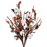 NAHUAA 2pcsFlores Secas Ramo de Flores Secas Flores Artificiales Algodon Artificial Flores Blancas Decoracion para Interior Hogar Bodas Fiestas Mesa Cocina Restaurante