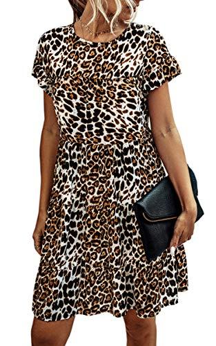 Spec4Y Damen Tunika Kleid Polka Dot Blumen Sommerkleid Kurzarm Rüschenärmel Babydoll T-Shirt Kleider Lose Plissee Minikleid 2006 Weiß Leopard Small