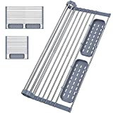 Expandable Roll Up Dish Drying Rack Up to 23'' with 2 Utensil Holders, Keggs Foldable Stainless Steel Dish Drying Rack Drainer Over The Sink for Kitchen Dishes,Cups,Fruits,Vegetables,Spoons,Forks