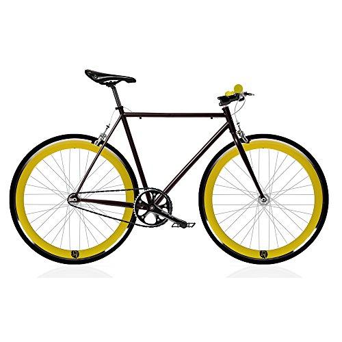 Bicicletta FIX 2 gialla Monomarcia, a scatto fisso/single speed. Taglia 56.