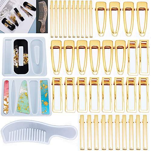 43 moldes de resina de silicona para horquillas de pelo, moldes de fundición para manualidades, 2 moldes de pelo y 1 molde de peine y 40 pasadores dorados para joyería hechos a mano (A)
