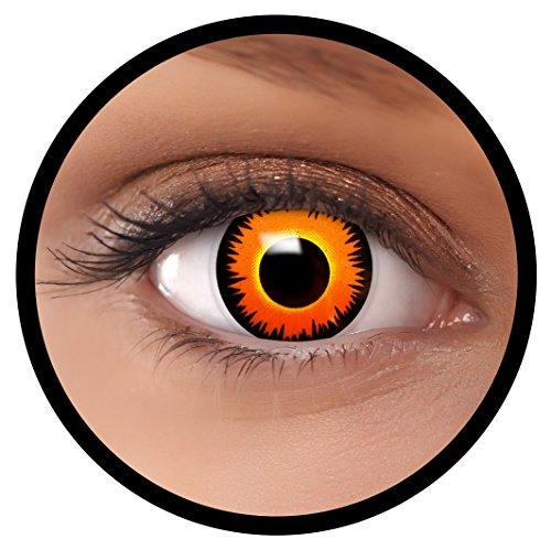 Farbige Kontaktlinsen Orange Löwe + Behälter, weich, ohne Stärke in als 2er Pack (1 Paar)- angenehm zu tragen und perfekt für Halloween, Karneval, Fasching oder Fastnacht Kostüm