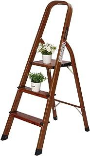 LUISLADDERS 3 Step Ladder Woodgrain Aluminum Lightweight Ladders Folding Step Stool for Home and Kitchen Ladder 330lb