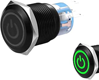 WerFamily Green Power Indicator LED 19mm Black Shell Aluminum Alloy Momentary Type Push Button Switch ON/OFF