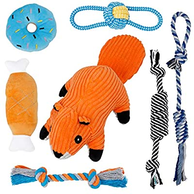 Toozey Small Dog Toys, 7 Pack Puppy Toys for Teething, Cute Squirrel Dog Toys for Small Dogs, Durable Plush Dog Squeak Toys, 100% Natural Cotton Ropes Chew Toys for Puppies, Non-Toxic and Safe