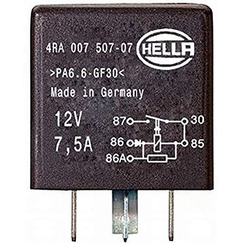 HELLA 4RA 007 507-071 Relais, Arbeitsstrom - 12V - 5-polig - Schaltbild: X - Steckerausf.-ID: X - Schließer - schwarz - ohne Halter