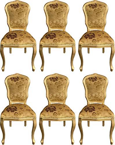 Casa Padrino Conjunto de sillas de Comedor barrocos de Lujo con Elegante patrón Oro 50 x 60 x A. 104 cm - Conjunto de sillas de Cocina de 6 - Muebles de Comedor barrocos