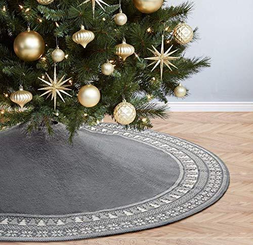 Dremisland Grande Falda de árbol de Navidad, 122cm Falda de árbol rústica Tejida de Punto con Patrón árbol de Navidad Copo de Nieve Estera de Falda de Burdeos para Fiesta Casa Decoración Adorno